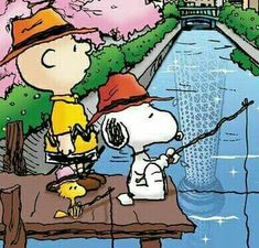Fishing Charlie Brown snoopy Woodstock