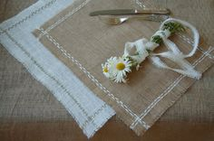 Stylish, rustic, cottage chic  burlap place mats in white, natural/tan or ivory.Custom color embroidery For Weddings, events, parties
