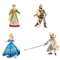 Royalty Set: High quality and durable figurines. Crafted and hand painted in France and Germany. Human figures are aprox. 3.5 inches.    The set includes:  Queen  King  Prince  Princess $24.95