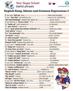 English slang, idioms, and common expressions, useful phrases, your skype school material 2