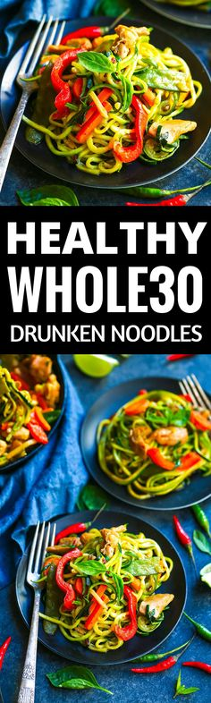 Healthy Whole30 Drunken Noodles recipe. Paleo, healthy, and easy to make! Get ready to really enjoy some deliciousness and healthy eats here. The best whole30 recipes for your meal plan. Easy whole30 dinner recipes. Whole30 recipes. Whole30 lunch. Whole30