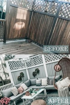 DIY Patio and Deck Makeover, Before and After of outdoor space transformation, hanging egg chair, outdoor sectional, Pretty in the Pines Style Budget Patio, Small Patio Ideas On A Budget, Diy Patio, Backyard Patio, Diy Decking On A Budget, Backyard Ideas, Pergola Ideas, Garden Diy On A Budget, Porch Ideas