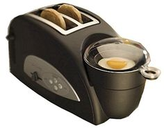 And you thought the drive-thru was fast ! Make your favorite breakfast sandwiches — at home — in minutes. The Egg & Muffin Toaster brings innovation to the toaster category by combining the functions of a toaster and an egg poacher into one easy-to-use appliance. It even heats your breakfast sausage or bacon! The Egg & Muffin can be used solely as a full functioning toaster or poacher or can be used simultaneously to make the ultimate breakfast sandwich in just 4 minutes!