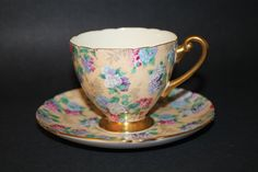 SHELLEY Fine Bone China Teacup and Saucer Set by CraigsTreasures, $65.00