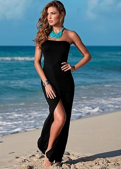 Your black maxi gets sensual and sexy! Venus maxi dress with slit. #styleaffair