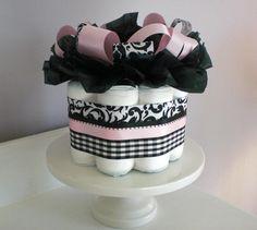 Damask diaper cupcake bouquet