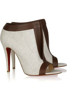 Chaotic 100 leather-trimmed canvas ankle boots by Christian Louboutin
