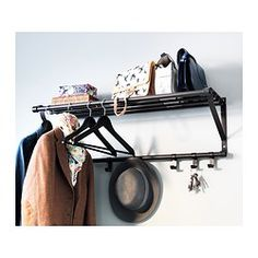 The clever design of the PORTIS hat rack combines shelf space, a hanging bar and hooks all in one!