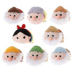 "NEW Disney Store Tsum Snow White & the 7 Seven Dwarves Mini Plush 3.5"" COMPLETE SET"