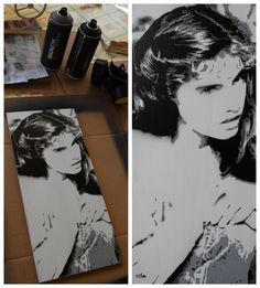 Stencil spray paint on wood
