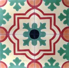 Modelo 186. Azahar encaustic tile#tiles #tile #floor #azulejos #home #casa #orange #narnaja #rojo #red #green