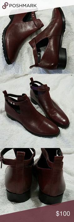 Elizabeth and James Pine Cutout bootie Size 8. Color: burgundy(dark wine).  Round toe Booties cutout like maryjanes. Cute boots. These are new without box. Flaws. Have little scuffs from them being handled but nothing crazy. Pic 8. Elizabeth and James Shoes Ankle Boots & Booties