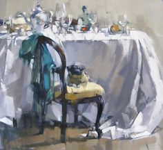 Maggie Siner, Table, Pug & Turquoise, 2014, J. Cacciola Gallery