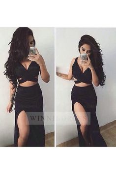Simple Prom Dresses, 2 piece prom gown two piece prom dresses black evening gowns 2 pieces party dresses formal dress for teens LBridal Prom Dresses Two Piece, Prom Dresses 2016, Formal Dresses For Teens, Lace Party Dresses, Black Prom Dresses, Prom Dresses Online, Sexy Dresses, Dress Black, Long Dresses