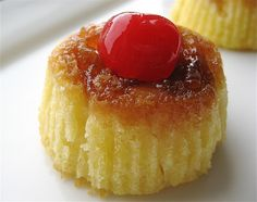 Mini Pineapple Upside-Down Cakes. Made this last night for dessert and they were delicious! Cut the butter in half and added a half-cup of applesauce. Made 12 cakes.