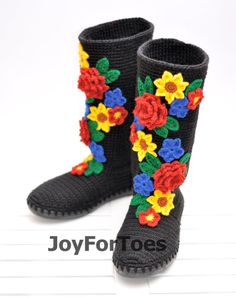 Crochet Boots for the Street Folk Tribal Boots Boho Boots Made to Order Pavlov Posad Black Russia