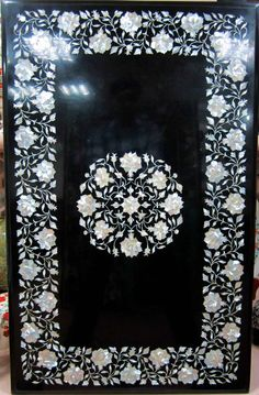 An Italian Pietra Dura Marble Inlaid Table Top / Mother Of Pearl Inlay / Antique Furniture