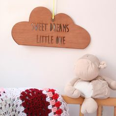 This beautiful laser cut wooden cloud hanging decoration/mobile features the words 'sweet dreams little one' cut out of it. A gorgeous new baby gift! This wooden fluffy shaped cloud is very dreamy in. Cute Baby Costumes, Animal Lamp, Cloud Decoration, Cardboard Packaging, Christening Gifts, Wooden Decor, Nursery Wall Art, Nursery Ideas, Stylish Kids