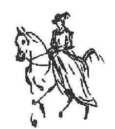 0 point de croix femme en robe sur cheval - cross stitch lady in dress riding a horse