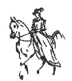 0 point de croix femme en robe sur cheval - cross stitch lady in dress riding a horse