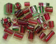 David Christensen Assorted Festive Cranberry Pink Plum Mix Cane Glass Beads