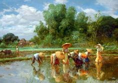 """Fernando Amorsolo y Cueto, Filipino painter, was an important influence on contemporary Filipino art and artists, even beyond the so-called """"Amorsolo school"""". Subjects: Philippine Genre, historical and society Portraits. Arte Filipino, Filipino Culture, Filipino House, Art Village, Great Paintings, Landscape Paintings, Landscape Pictures, Acrylic Paintings, Munier"""