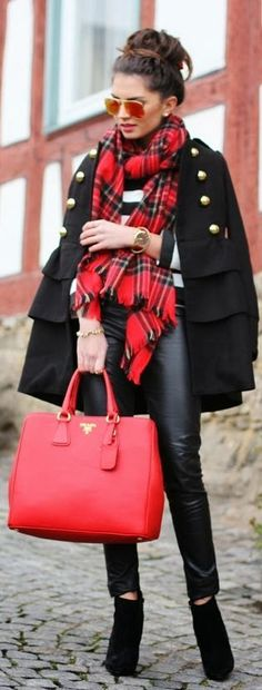 any great red leather bag works for me!  And scarf!