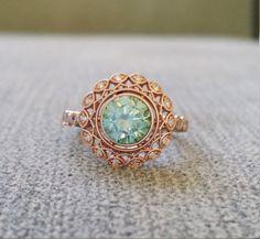 "Bezel Set Mint Moissanite and Diamond Ballerina Antique Engagement Ring Gemstone Flower Filigree Round Rose Gold Vintage ""The Mae"""