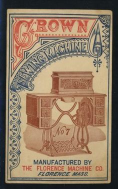 Victorian Trade Card Crown Sewing Machine 7 Great Illustration