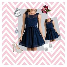"""""""Point Of Perfection Illusion Navy Blue Lace Tulle Dress by Ledyz Fashions"""" by ledyzfashions ❤ liked on Polyvore featuring Lauren Lorraine, Bling Jewelry, Bloomingdale's, Kobelli, lacedress, BridesmaidDress, navybluedress and loveledyzfashions"""
