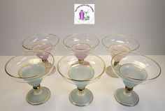 Retro Glass Blendo Frosted Style Blue White Pink Large Coupe