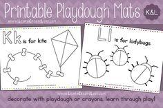 Printable Playdough Mats: K & L from LearnCreateLove.com