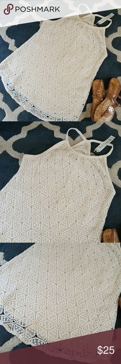 SOLITAIRE BY RAVI KHOSLA BRAIDED STRAP CROCHET TOP SOLITAIRE BY RAVI KHOSLA BRAIDED STRAP CROCHET TOP. CREAMY BEIGE NATURAL MUSLIN TYPE FABRIC. VERY BOHO CHIC AND BEAUTIFUL. SMOKE FREE. Anthropologie Tops