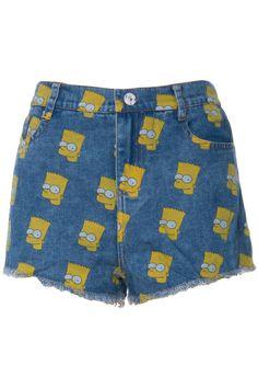 ROMWE   ROMWE Simpson Print Acid-washed Blue Denim Shorts, The Latest Street Fashion