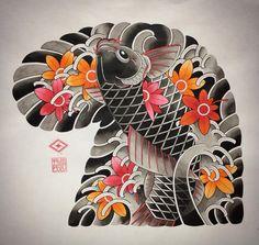 Koi Tattoo Design, Tattoo Design Drawings, Tattoo Designs, Asian Tattoos, Leg Tattoos, Body Art Tattoos, Japanese Koi Fish Tattoo, Japanese Sleeve Tattoos, Traditional Tattoo Design