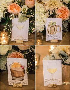 Illustrated cocktail table names. A cute DIY project you and your future husband can do together. Have the photos of each cocktail ready so you can always reference back. Its also a fun activity to help you destress from all of the planning!