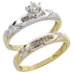 10k Yellow Gold Ladies' 2-Piece Diamond Engagement Wedding Ring Set, Size 8 * See this great product.