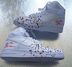 Custom paint splattered Air Force Ones