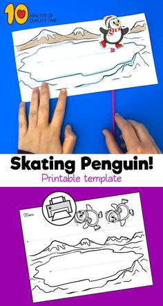 Skating Penguin Craft B&W printable [avia_codeblock_placeholder uid= Winter Crafts For Toddlers, Crafts For Teens To Make, Winter Kids, Winter Activities, Toddler Crafts, Craft Activities, Crafts To Do, Preschool Crafts, Fall Crafts