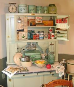 My 1925 Hoosier with vintage canning items