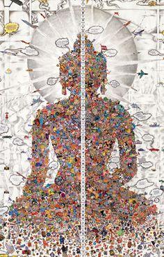 Gonkar Gyatso (born Lhasa, 1961). Dissected Buddha (detail), 2011.