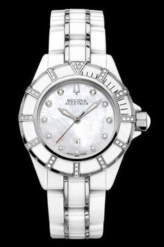Accutron by Bulova Ladies Mirador Ceramic and Stainless Diamond Watch 65R137, Accutron by Bulova Mirador Ceramic & Stainless Steel Diamond Womens Swiss watch Model# 65R137. The watch case & bracelet is crafted from white ceramic with polished stainless steel accents, Uni-direct..., #Watches, #Wrist Watches