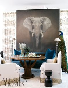 {images via Atlanta Homes & Lifestyles} Love these oversized art pieces Susan Ferrier used in this high-rise Atlanta apartment. My Living Room, Living Room Interior, Home And Living, Living Spaces, Elephant Art, Elephant Stuff, African Elephant, African Safari, Transitional House
