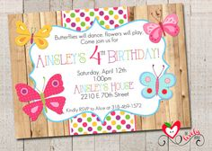 Butterfly Birthday Invitation, DIY Printable Butterfly Birthday Invite