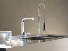 Dornbracht's kitchen faucet with flexible spray / Maro Collection Traditional Kitchen Faucets, Modern Traditional, Food Preparation, Contemporary, Kitchens, Sinks, Design, Beach House, Home Decor