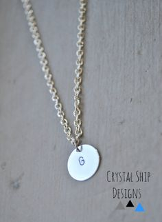 Silver shiny simple hand stamped initial by CrystalShipDesigns