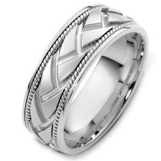 White Gold Handcrafted Wedding Ring | www.weddingbands.com | @Wedding Bands