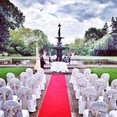 A beautiful outdoor wedding beside our Fountain at the back of the Hotel!