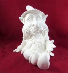 Ready to Paint Ceramic Sitting Gnome withHand Out- 11 inches tall,  lawn or garden gnome, outdoor or indoor by aarceramics on Etsy