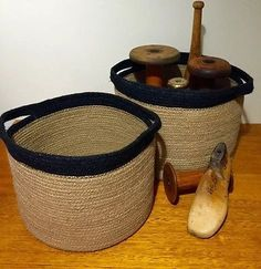 JUTE Large Round Baskets Storage Plant Pot Covers Set of 2 Black Trim